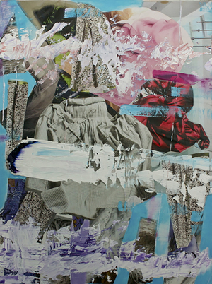 "Vanessa Navarrete,  Sails , 2013, Oil and paper collage on panel, 12"" x 9"""