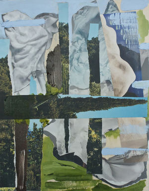 Vanessa Navarrete,  Exile , 2013, Oil and paper collage on panel,