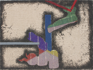 """Ryan DaWalt,  Brushstroke #3 , 2015 Hand colored stainless steel granules cast in magnetic fields to linen, cut up and collaged on board, 18"""" x 24"""""""