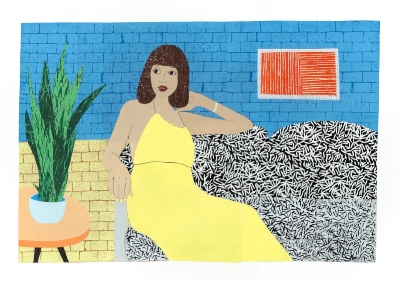 Rachael Abrams, Shelley in Yellow , 2017, relief print and collage on paper, 24 x 30 inches