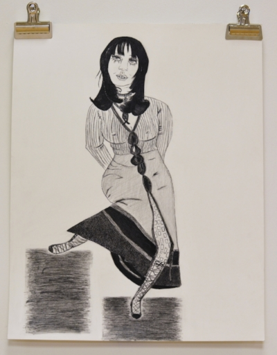 Janegila Wright, Duvall Vogue , 2017, ink and pencil on paper, 20 x 15 inches