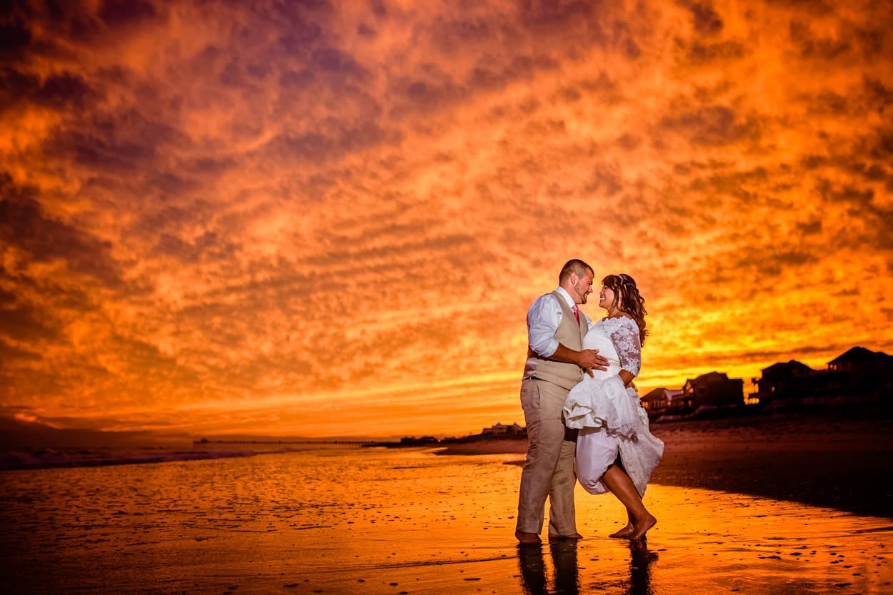 Alyssa & Corey's beautiful sunset wedding at Emerald Isle, NC