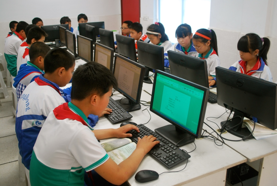 students work on new computers