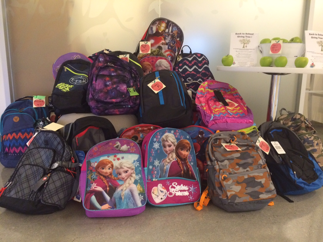 Some of the backpacks gathered for the 2015 back-to-school drive