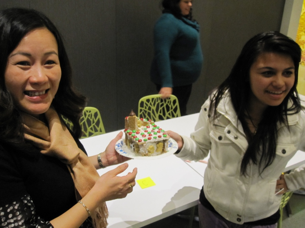 Making gingerbread houses with local teens as part of the Big Brothers, Big Sisters mentoring program