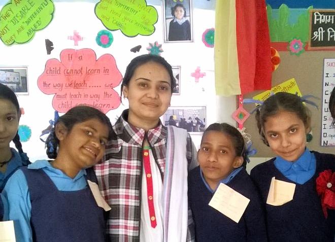 Anita Bhardwaj with her students.