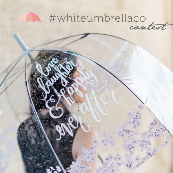 Custom Calligraphy on floral birdcage umbrella from White Umbrella Co - www.whiteumbrellaco.com /Photo: Cari Zhu Photography