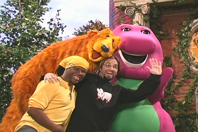 Nile Rogers, me, Bear in the Big Blue House, and Barney.