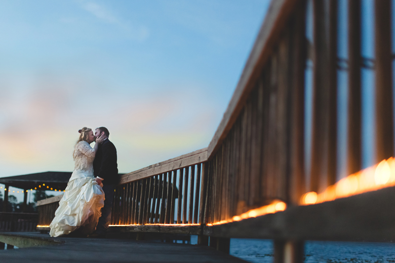 Outdoor Southern Wedding | bride & groom at sunset