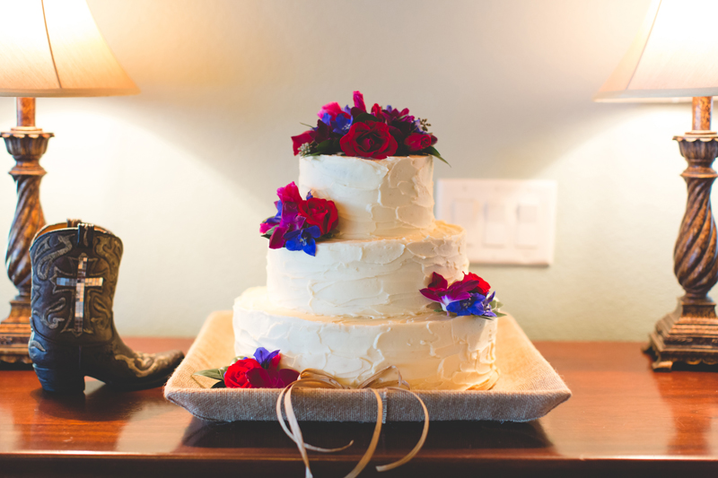 Outdoor Southern Wedding   rustic wedding cake with flowers