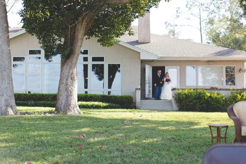 Outdoor Southern Wedding   Bride & Father ready to walk down the aisle