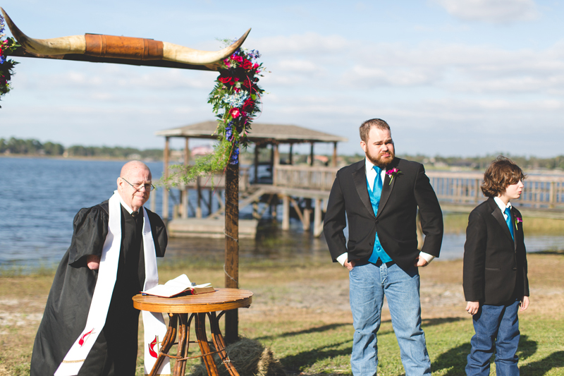 Outdoor Southern Wedding | Groom seeing his bride as she walks down the aisle