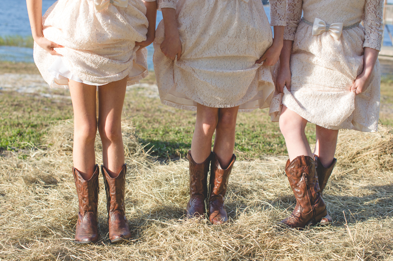 Outdoor Southern Wedding | flower girls and cowboy boots