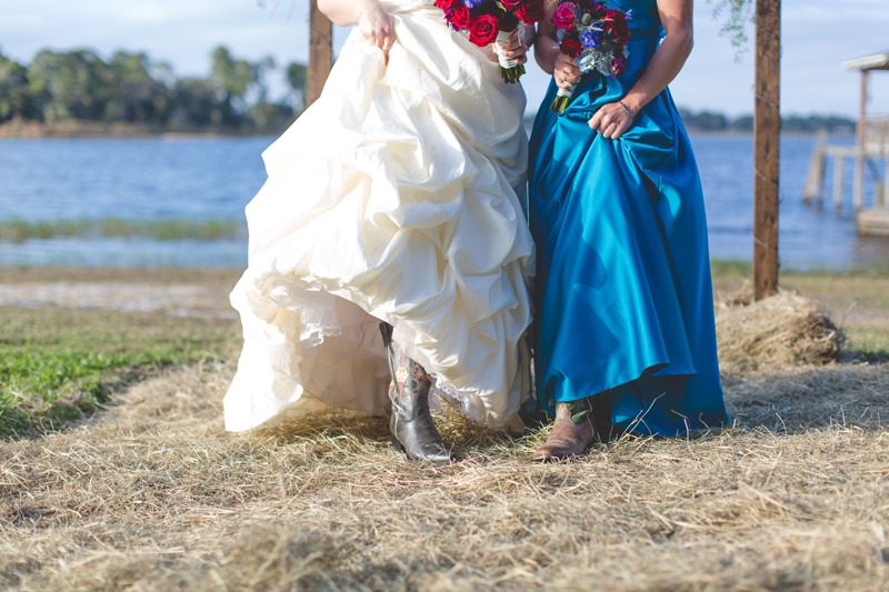 Outdoor Southern Wedding   cowboy boots and dresses