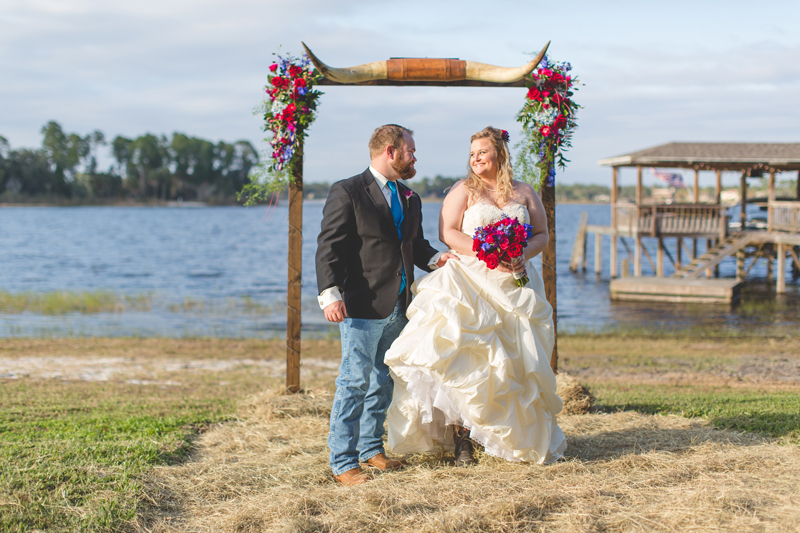 Outdoor Southern Wedding   bride and groom under the arch