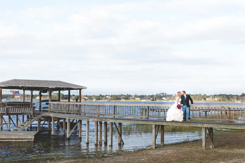 Outdoor Southern Wedding | bride and groom on dock