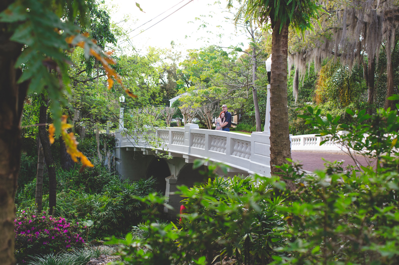 Outdoor Orlando Engagement Session | couple on bride