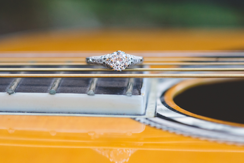 Outdoor Orlando Engagement Session | Engagement Ring on guitar