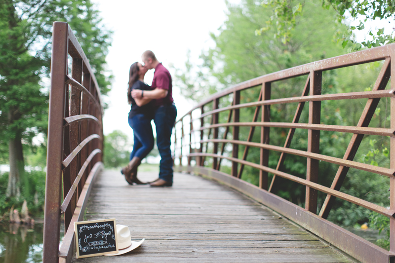 engagement on bridge cowboy hat save the date chalkboard
