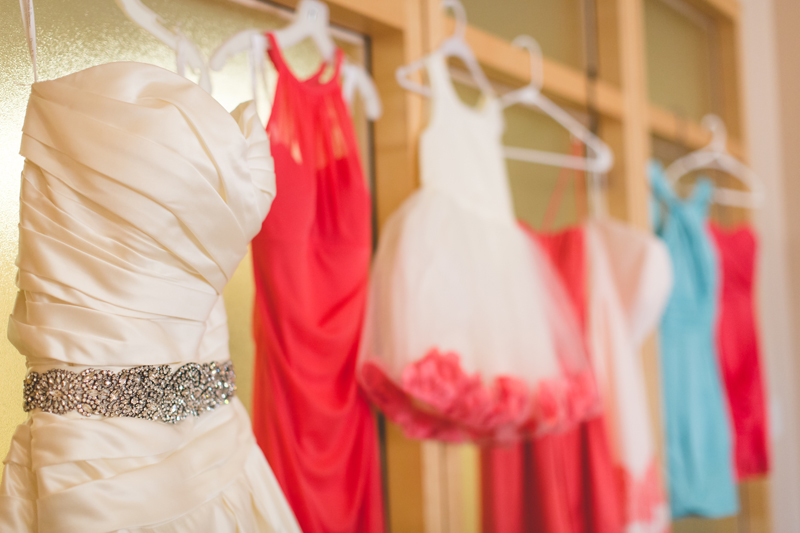 orange county regional history center intimate wedding bridesmaid dress and wedding dress coral and light blue colors