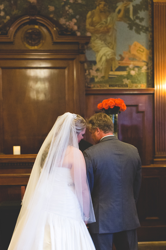 orange county regional history center intimate wedding bride and groom close during ceremony