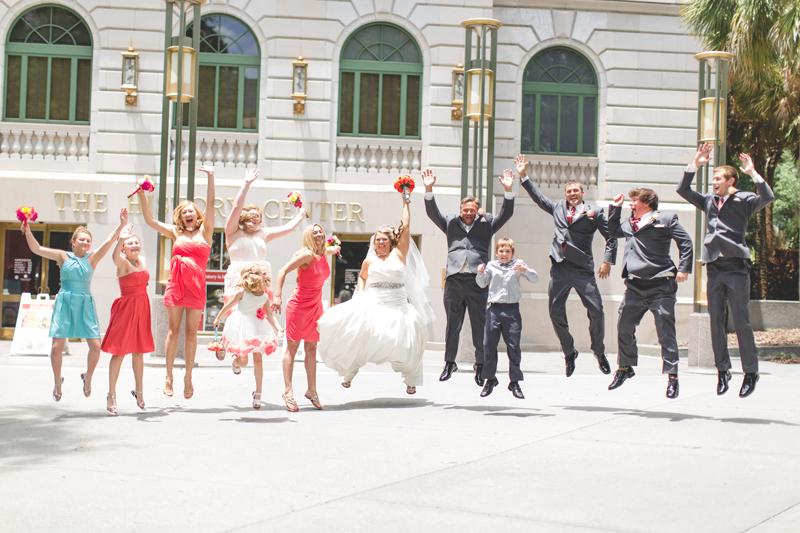orange county regional history center intimate wedding jumping wedding party after wedding fun wedding party