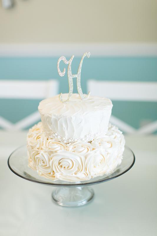 orange county regional history center intimate wedding white wedding cake with initial cake topper