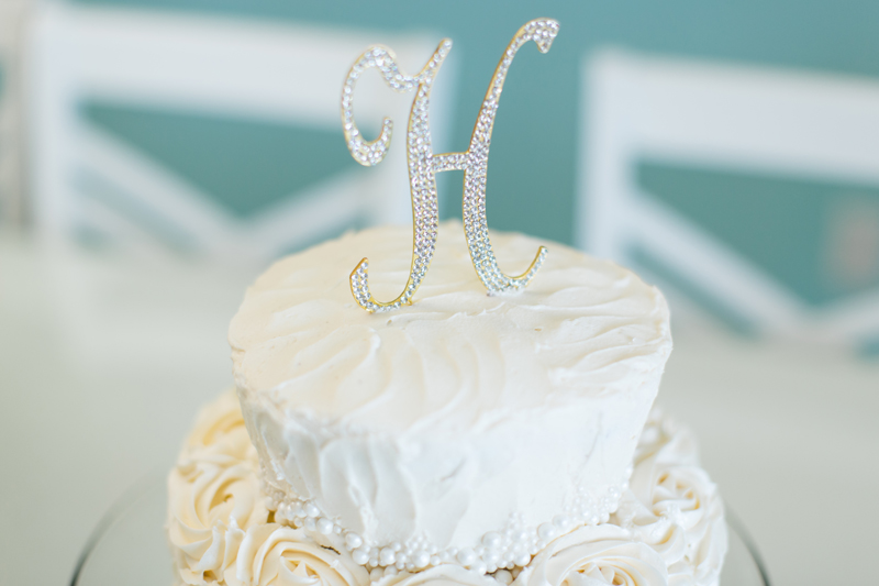orange county regional history center intimate wedding wedding cake with letter cake topper