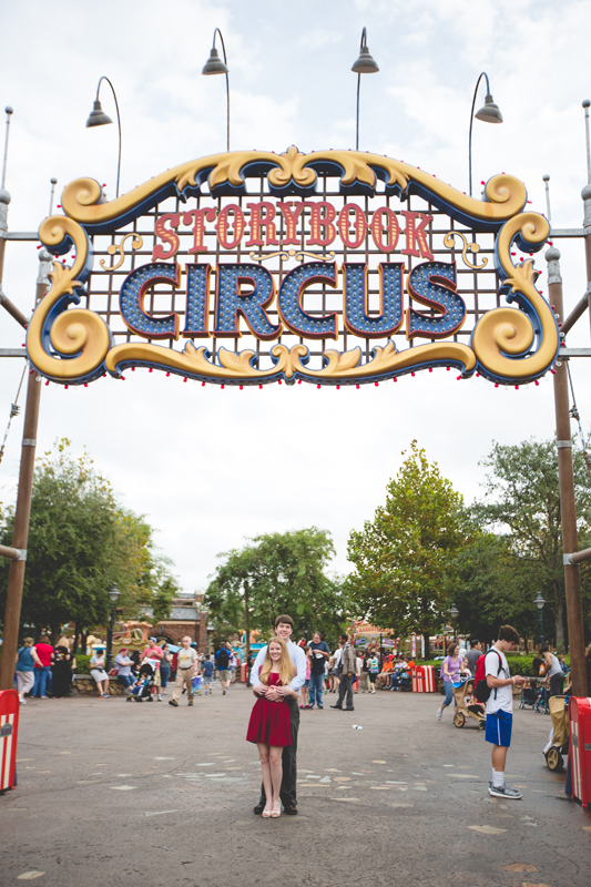 Disney Magic Kingdom Engagement Session Photos dumbo sign