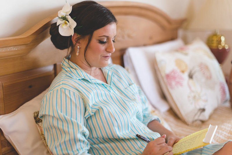 Bride writing vows before wedding - Beach Wedding Photos - destination Orlando wedding photographer - Jaime DiOrio