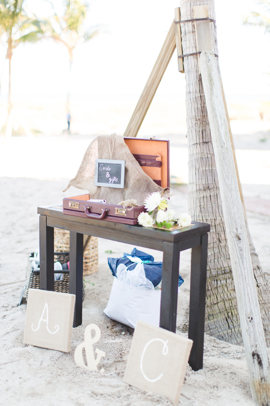 Suitcase guest book table ideas - Beach Wedding Photos - destination Orlando wedding photographer - Jaime DiOrio