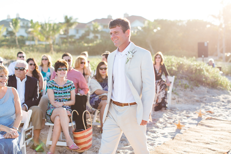 Groom walking up to get married - Beach Wedding Photos - destination Orlando wedding photographer - Jaime DiOrio