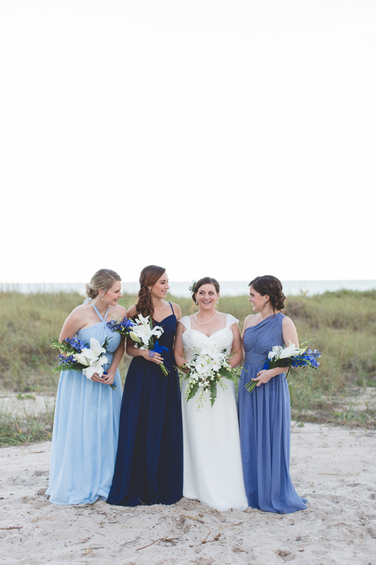 Bride with bridesmaids - Beach Wedding Photos - destination Orlando wedding photographer - Jaime DiOrio