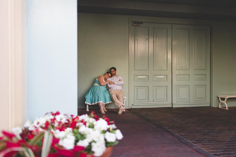 Engagement photos at Disney - Magic Kingdom photo shoot-Disney family session - family photos - Jaime DiOrio Disney Photographer