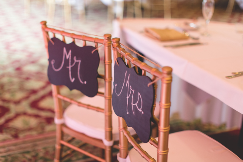 Mr and Mrs chalkboard Bride and Groom seat signs - bohemian inspired outdoor wedding at Mission Inn Resort - howey in the hills fl - destination orlando wedding photographer - Jaime DiOrio (41).jpg