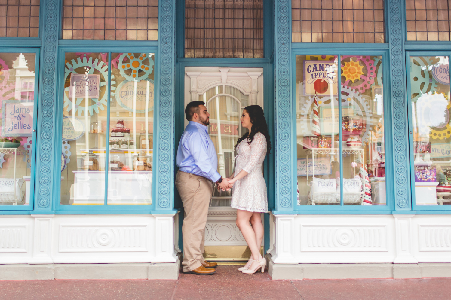 Darling Candy Shop Engagement photo at Disney Magic Kingdom