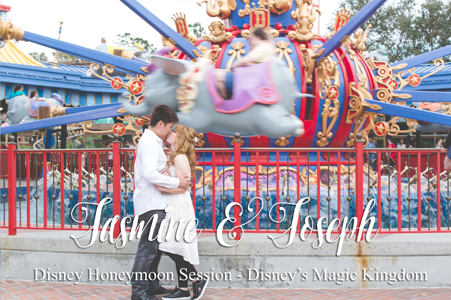 Disney Honeymoon Session - Disney Engagement Photos - Disney Wedding Photographer - Destination Orlando Wedding Photographer - Jaime DiOrio - Dumbo ride.jpg