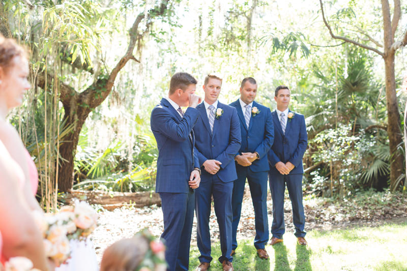 Groom crying when he sees his Bride walking down the aisle
