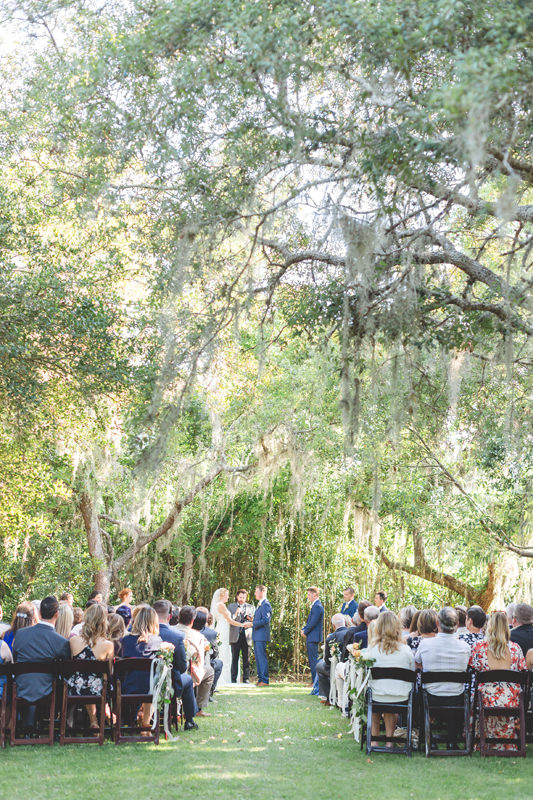 outdoor ceremony at floridan manor estate under huge oak trees
