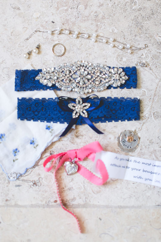 Bridal jewelry and garter for outdoor spring wedding
