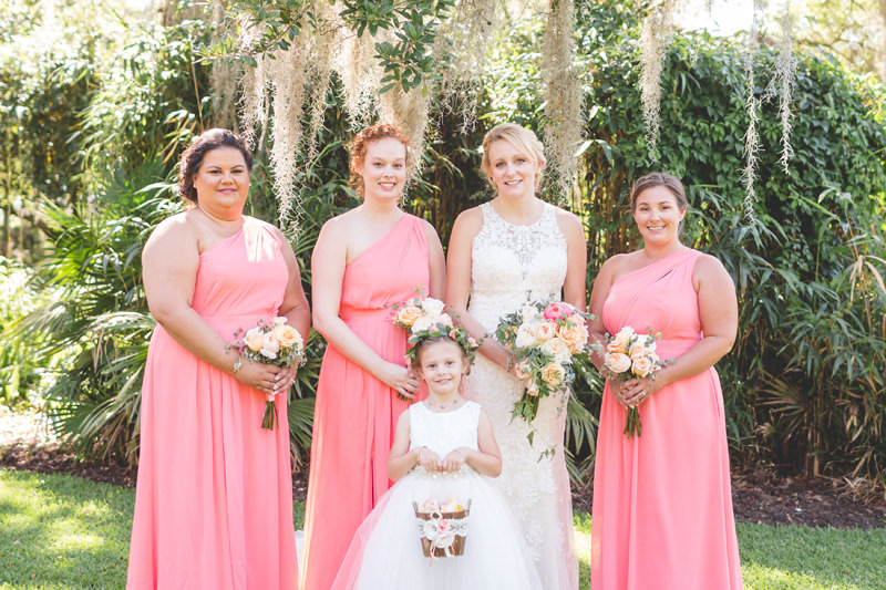 Portrait of Bride with Bridesmaids and Flower girl