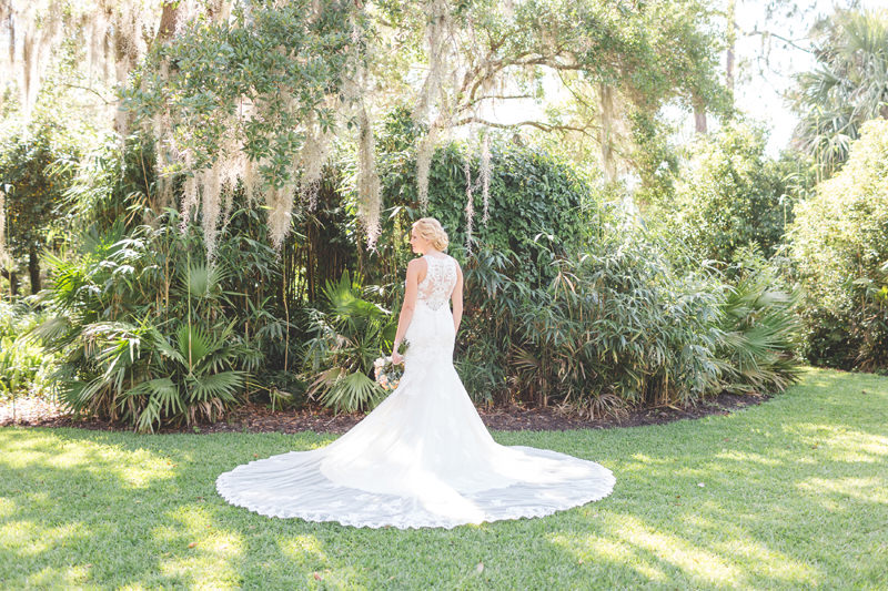 Beautiful lace wedding dress with long train