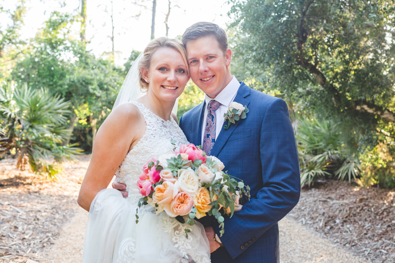 Beautiful spring wedding with Bride and Groom smiling