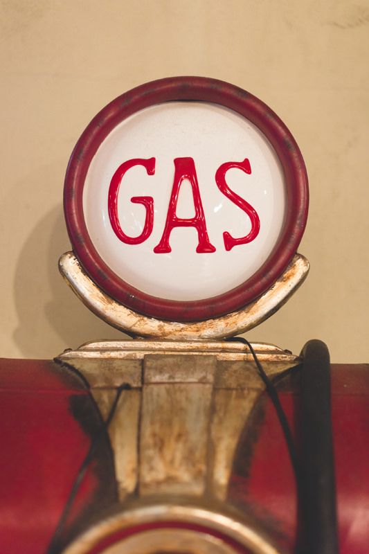 vintage gas pump at floridian manor estate wedding venue