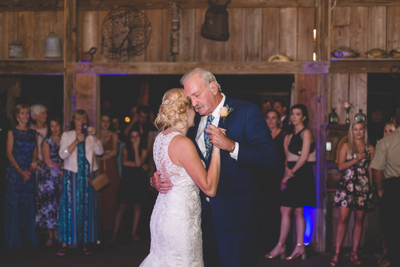 Father Daughter dance at barn wedding reception