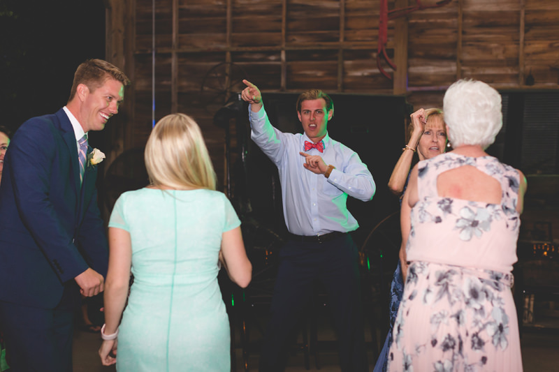 Wedding Guests dancing at spring Barn Wedding Reception