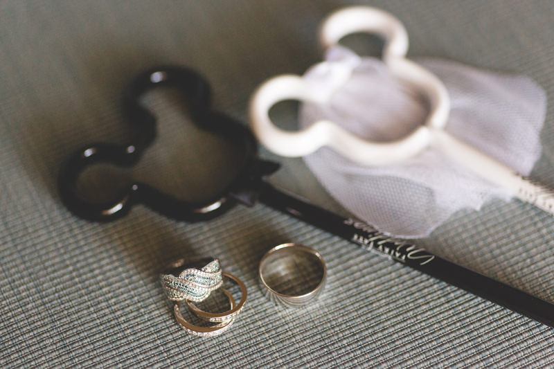 Mickey Ear Bride and Groom pens and wedding rings at Disney Themed Wedding