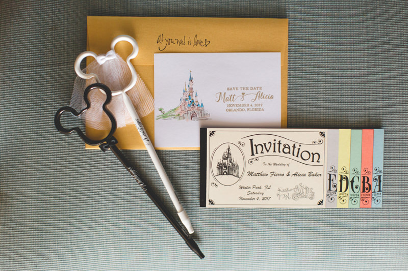 Beautiful Disney inspired wedding Invitation for a Disney Themed Wedding at Knowles Memorial Chapel