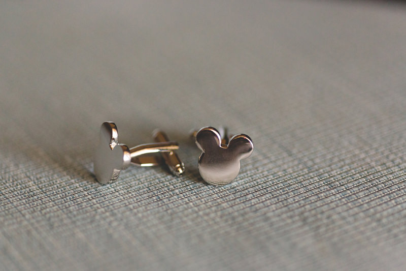Mickey shaped cuff links for the Groom at a Disney Themed Wedding