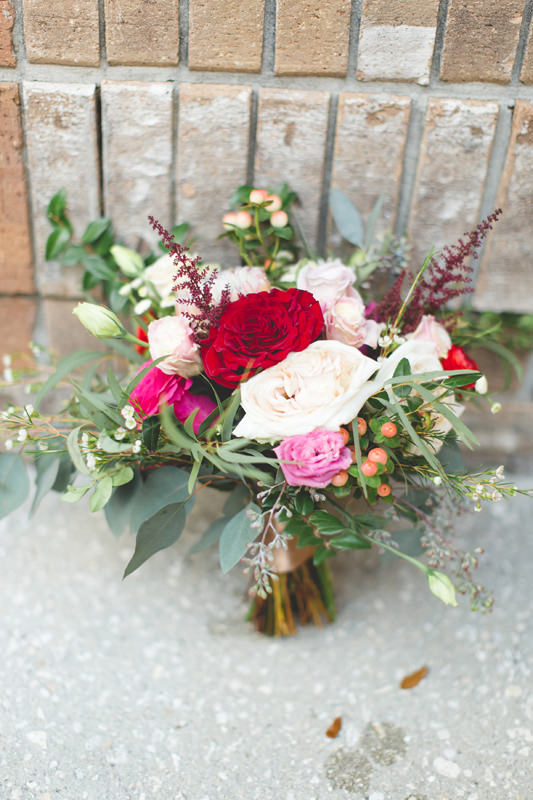 Red and Pink Winter Bouquet for a Disney Themed Wedding